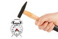 Hammer With Alarm Clock Royalty Free Stock Photography - 23432937