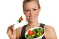 Woman Eating Salad Royalty Free Stock Photography - 23435167