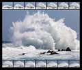 High Wave Breaking On The Rocks Royalty Free Stock Image - 23440706