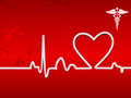 Heart Beat On Display On A Red Background Royalty Free Stock Photo - 23459365