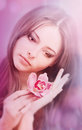 Girl With Orchid Flower Royalty Free Stock Images - 23466729