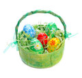 Easter Eggs In Basket Stock Images - 23484114