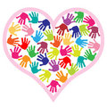 Children Hand Prints In The Heart Royalty Free Stock Photos - 23487038