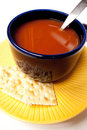 Blue Bowl Of Tomato Soup Stock Image - 23490941