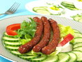 Fried Tasty Sausages For Breakfast Stock Photo - 23494880