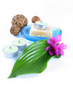 Green Leaf, Soap And Candle Royalty Free Stock Photo - 2355075