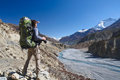 Lone Trekker With A Backpack Royalty Free Stock Image - 23524236