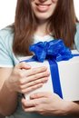Woman Hand Holding Gift Or Present Box Royalty Free Stock Photos - 23526428