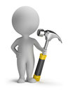 3d Small People With Hammer Royalty Free Stock Photography - 23566837