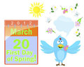 First Day Of Spring. Calendar And Blue Bird. Stock Image - 23590951
