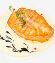 Salmon With Cheese Sauce Royalty Free Stock Photos - 23593588
