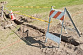 Barricade With Caution Tape Royalty Free Stock Image - 23605246