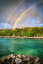 Double Rainbow By The Coast Stock Photography - 23610852