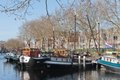 Barges In Old Historic Harbor Of The Netherlands Royalty Free Stock Photo - 23660505