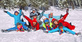 Friends Laid On The Snow Stock Image - 23660861