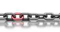 Chain With Red Link Stock Photography - 23681432