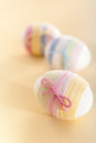 Striped Yarn Wrapped Easter Eggs Royalty Free Stock Images - 23686569