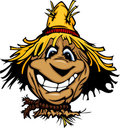 Happy Scarecrow Face With Straw Hat Stock Image - 23698271