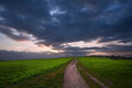 Stormy Sky Over Countryside Landscape Royalty Free Stock Photography - 23704007