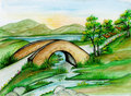 Watercolor Bridge Landscape Stock Images - 23706964