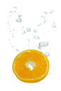 Orange In Water With Air Bubbles Stock Photos - 23715673