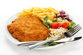 Fried Pork Chop And French Fries Royalty Free Stock Photography - 23720387