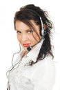 Brunette Business Woman Operator Of Service Stock Image - 23729651