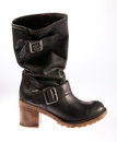 Black Leather Casual Female Boot Stock Image - 23736851