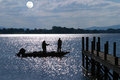 Bass Fishing By Moonlight Royalty Free Stock Photos - 23744198