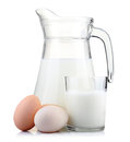 Jug Of Milk And Glass With Eggs  On White Royalty Free Stock Photos - 23744668