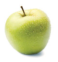 Green Apple In Drops On A White Stock Images - 23748414