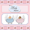 Baby Twins Shower Card Royalty Free Stock Photography - 23755867