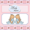 Baby Twins Shower Card Stock Images - 23755874