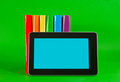Row Of Colorful Books And Tablet PC Stock Photos - 23791723