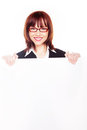 Smiling Businesswoman Holding Blank Sign Royalty Free Stock Photo - 23791815