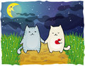 Cats Under The Moon Royalty Free Stock Images - 23834549
