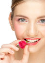 Girl With Rose Bud In Her Mouth Royalty Free Stock Photography - 23834767