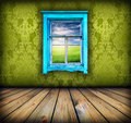 Green Room With Window With Field And Sky Above It Stock Photography - 23853362