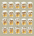 Cute Series Of Smiles Beer Stickers Stock Photography - 23861162