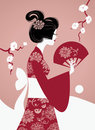 Japanese Girl Silhouette Royalty Free Stock Photo - 23867325