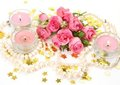 Pink Roses And Candles Royalty Free Stock Photos - 23880808