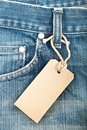 Blue Denim Jeans With Paper Label Stock Photography - 23912382