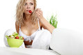 Sexy Woman With Salad On White Background Stock Images - 23912504