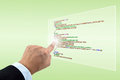 Hand Pointing Programming Script Royalty Free Stock Photography - 23913397
