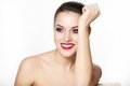 Smiling Young Woman Model With Glamour Red Lips Stock Photo - 23927550