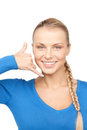 Woman Making A Call Me Gesture Stock Photo - 23938480