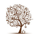 Art Tree With Kitchen Utensils, Sketch Drawing Royalty Free Stock Photos - 23943438