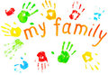 The Colorful Prints Of The Family`s Palms. Royalty Free Stock Photography - 23969587