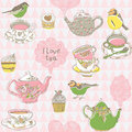 Cups, Birds And Kettles Pattern Stock Photo - 23972590