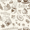 Seamless Pattern With Coffee Cakes Pies And  Latte Royalty Free Stock Images - 23977989